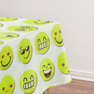 Emoji set happy smile faces cartoon artwork yellow tablecloth