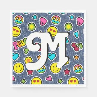 Emoji Smile Denim Girl Bday Party Napkins letter M Paper Serviettes