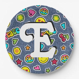 Emoji Smile Denim Girls Bday Party Plates Letter E