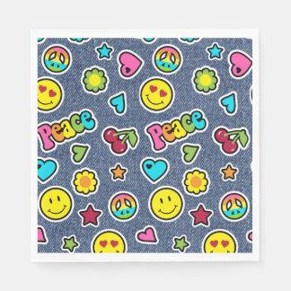 Emoji Smile Denim Girls Birthday Party Napkins Paper Napkin
