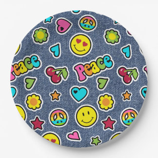 Emoji Smile Denim Girls Birthday Party Plates