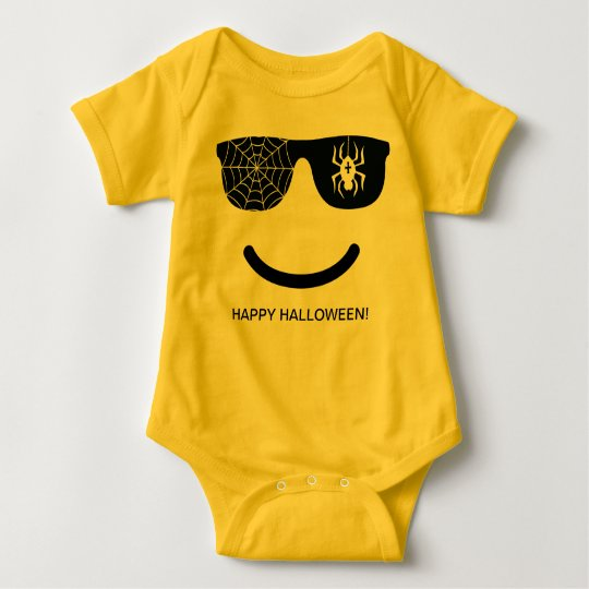 Emoji Smiling Face Funny Halloween Costume Baby Bodysuit