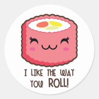 Emoji Sushi Roll Round Stickers