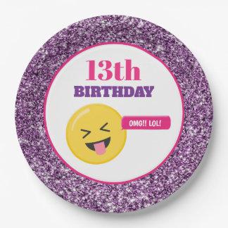 Emoji Teen Birthday Purple Glitter Paper Plates