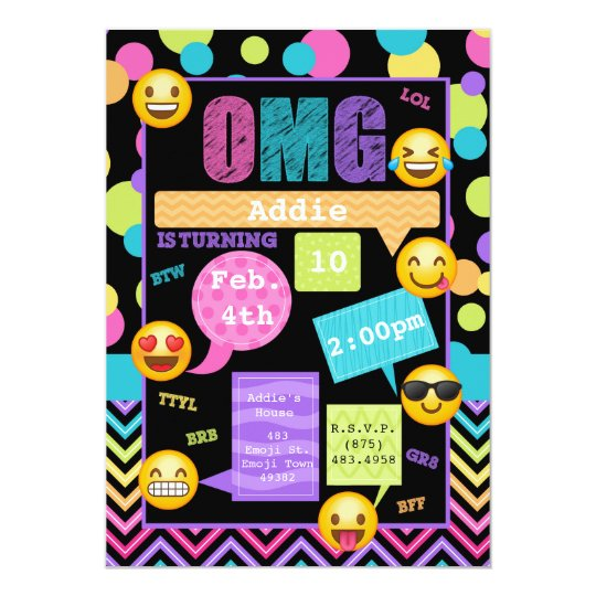 Emoji Texting Birthday Party Invitation