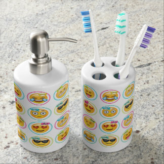 Emoji Toothbrush Holder and Soap Dispenser Set