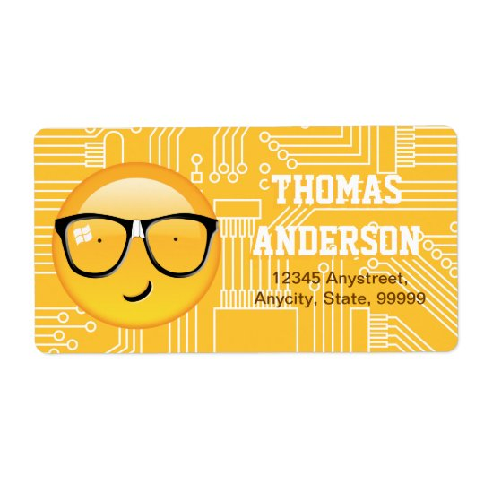 Emoji Totally Techie ID229 Shipping Label