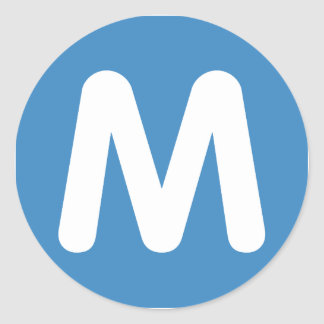 Emoji Twitter - Letter M Classic Round Sticker