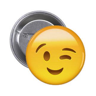 Emoji Winking Face Pinback Button