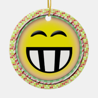 EMOTICON BIG TOOTHY SMILEY FACE CHRISTMAS ORNAMENT