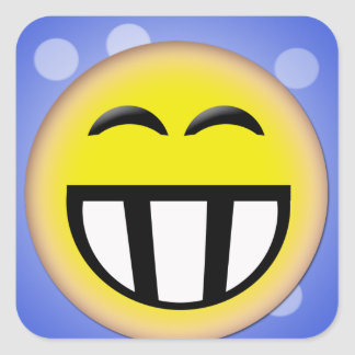 EMOTICON BIG TOOTHY SMILEY FACE SQUARE STICKER