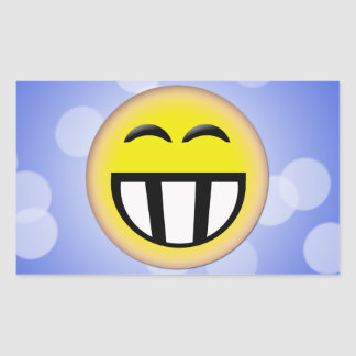 EMOTICON BIG TOOTHY SMILEY FACE RECTANGULAR STICKERS