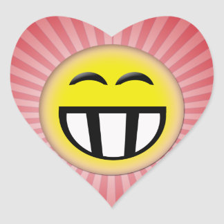 EMOTICON BIG TOOTHY SMILEY FACE HEART STICKERS