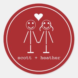 Emoticon Couple Classic Round Sticker