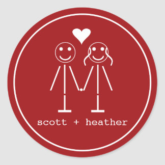 Emoticon Couple Round Sticker