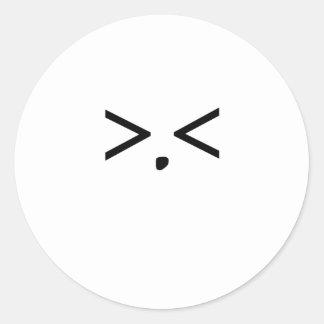 Emoticon: Frustration Classic Round Sticker