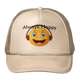 Emoticon Happy listening music Cap