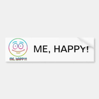 "Emoticon ""Me, Happy!"" Bumper Sticker"