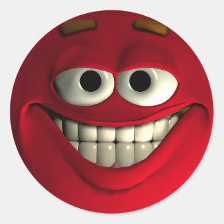 Emoticon Red Round Sticker