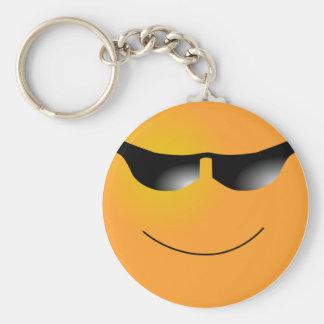 Emoticon Sunglasses Basic Round Button Key Ring
