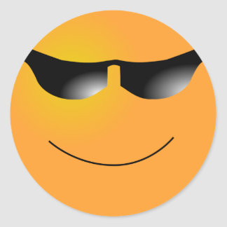 Emoticon Sunglasses Round Sticker