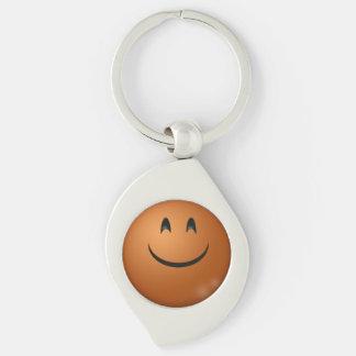 Emoticon Swirl Metal Keychain Silver-Colored Swirl Key Ring