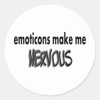 Emoticons Make Me Nervous, Black & Gray Classic Round Sticker