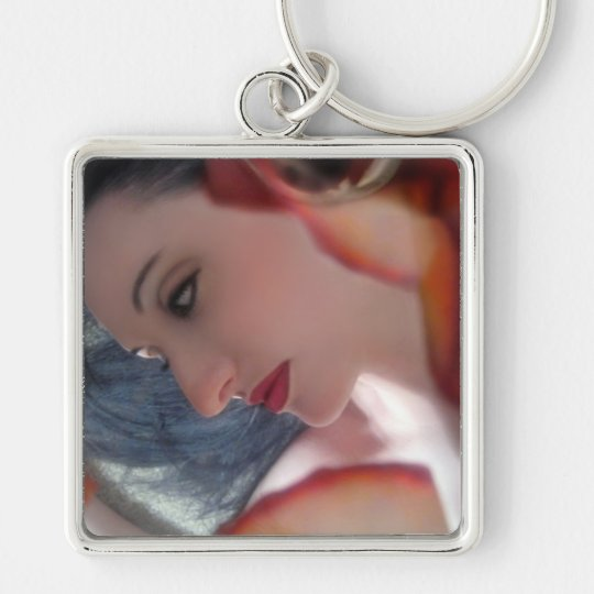 Emotional Free Fall - Self Portrait Silver-Colored Square Key Ring