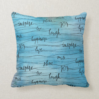 Emotional Inspirations on Blue Watercolor Cushion