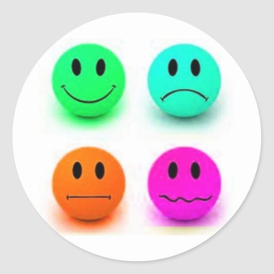 Emotional Smiley Faces Classic Round Sticker