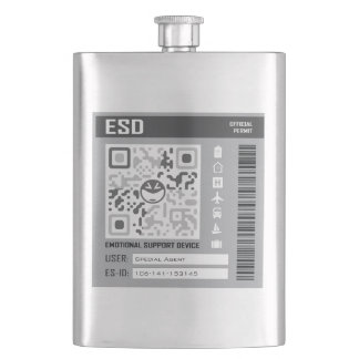 Emotional Support Device Grey Hip Flask
