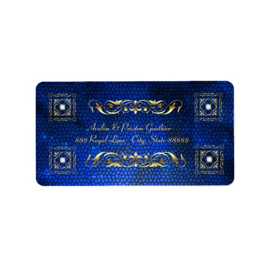 Emperior Blue Stained Glass Address Labels