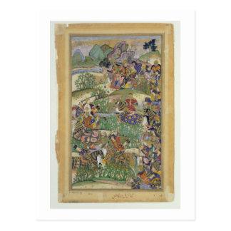Emperor Akbar (r.1556-1605) at the battle of Samal Postcard