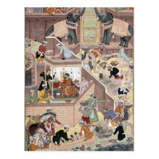 Emperor Akbar (r.1556-1605) inspecting the buildin Postcard