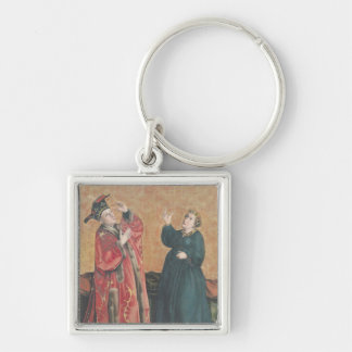 Emperor Augustus  and the Tiburtine Sibyl Silver-Colored Square Key Ring