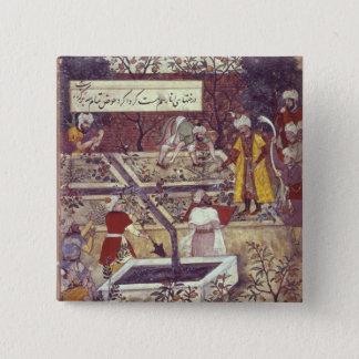 Emperor Babur and his architect plan 15 Cm Square Badge