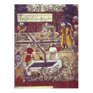 Emperor Babur and his architect plan Postcard