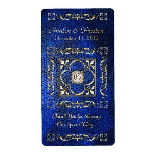 Emperor Blue Stained Glass Wine Wedding Label Shipping Label