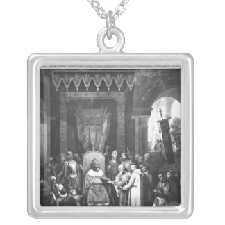 Emperor Charlemagne  Surrounded Principal Silver Plated Necklace
