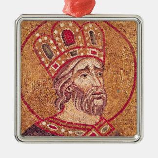 Emperor Constantine I  the Great Silver-Colored Square Decoration