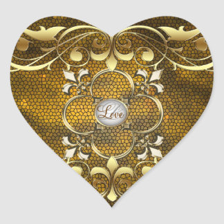 Emperor Gold Heart Stained Glass Love Sticker