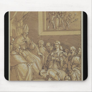 Emperor Henri IV  at the feet of Pope Gregory Mouse Mat