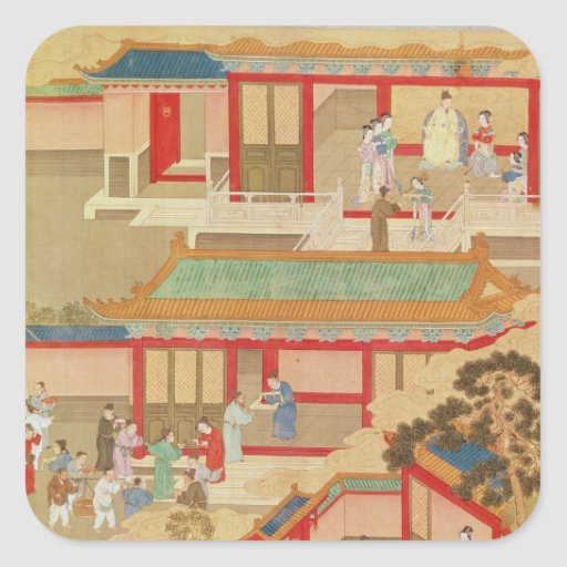 Emperor Hsuan Tsung  at home Square Stickers