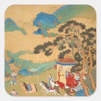 Emperor Mu Wang  of the Chou Dynasty in Square Sticker