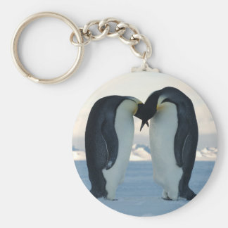 Emperor Penguin Courtship Basic Round Button Key Ring