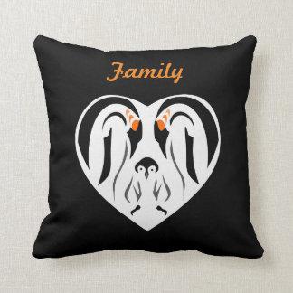 Emperor Penguin Family Love Heart Throw Cushions