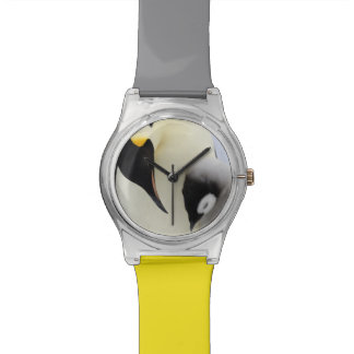 Emperor Penguin looking at chick Wristwatch