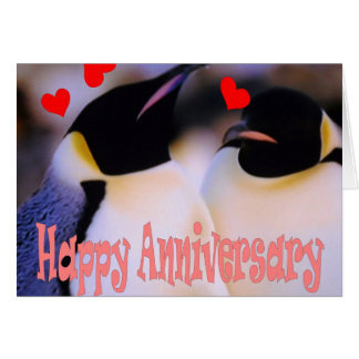 Emperor penguin love anniversary card