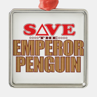 Emperor Penguin Save Silver-Colored Square Decoration
