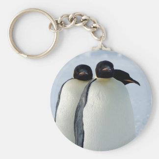 Emperor Penguins Huddled Basic Round Button Key Ring
